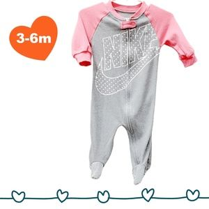 2/$25 Nike Grey and Pink Zippered Footed Sleeper - 6m